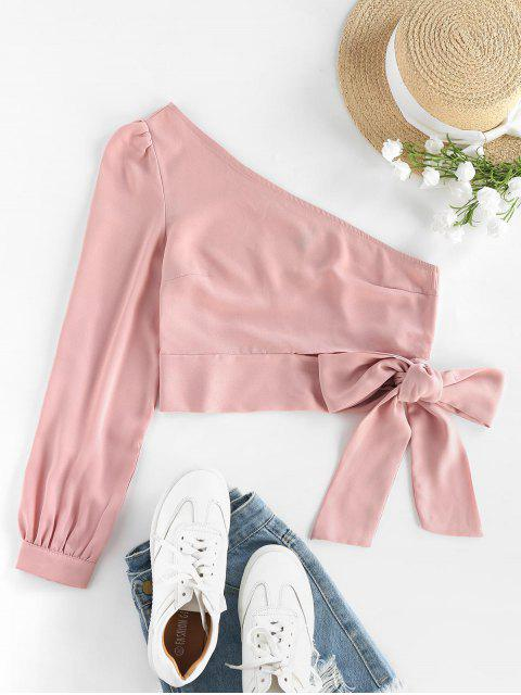 new ZAFUL One Shoulder Knotted Crop Blouse - PINK S Mobile