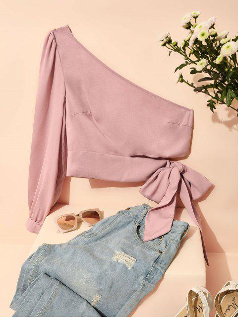 unique ZAFUL One Shoulder Knotted Crop Blouse - PINK M Mobile