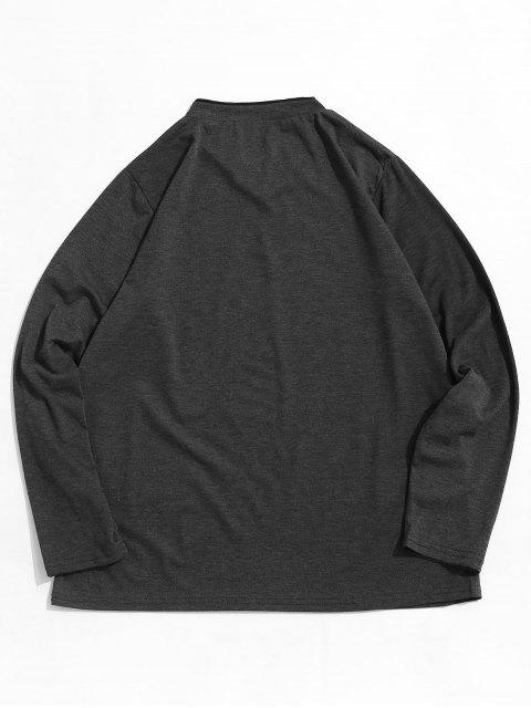 affordable Long Sleeve Solid Casual Tee - DARK GRAY M Mobile