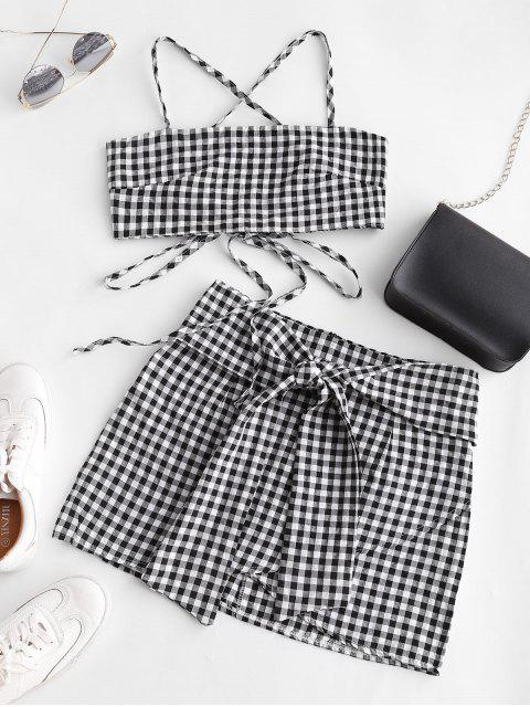 shop Gingham Knotted Cami Two Piece Suit - MULTI-A S Mobile