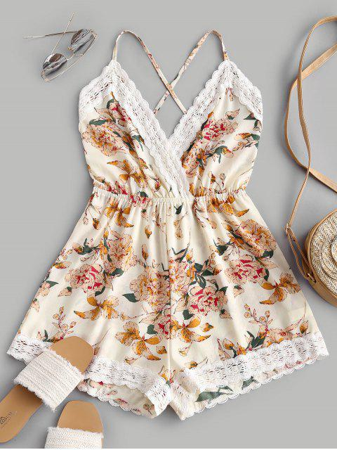 shops Lace Panel Floral Backless Cami Romper - MULTI-A S Mobile