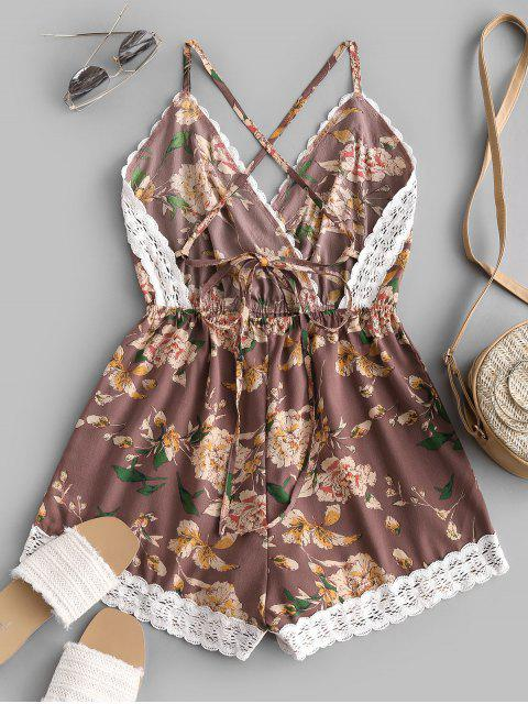 latest Lace Panel Floral Backless Cami Romper - MULTI-D S Mobile
