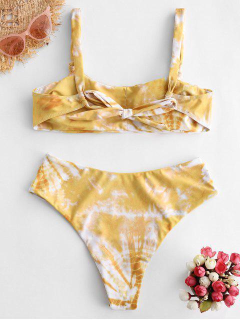 affordable ZAFUL Tie Dye High Leg Scoop Neck Bikini Swimsuit - MULTI-B S Mobile
