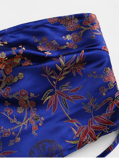 ZAFUL Haut Bandeau Noué Fleur Plissé en Jacquard - Bleu L Mobile