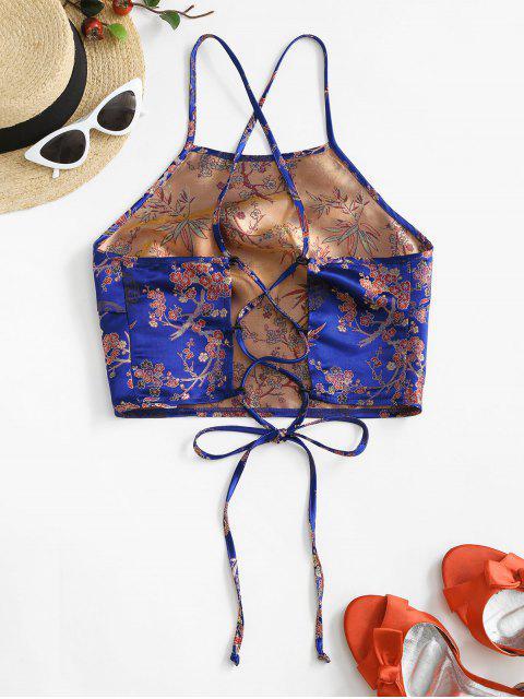 ZAFUL Top de Alças Finas com Cordões Cortado - Azul de Mirtilo  M Mobile