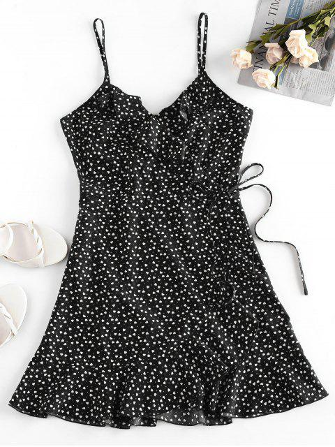 latest ZAFUL Heart Ruffle Cami Mini Dress - BLACK S Mobile