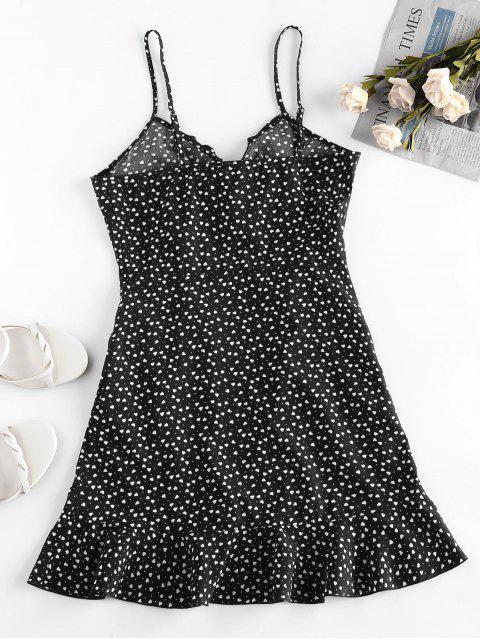 trendy ZAFUL Heart Ruffle Cami Mini Dress - BLACK M Mobile