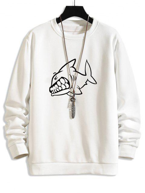 Shark Zeichnung Gedruckt Sweatshirt - Weiß XS Mobile