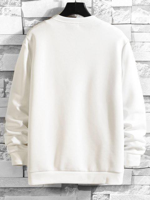 Shark Zeichnung Gedruckt Sweatshirt - Weiß S Mobile