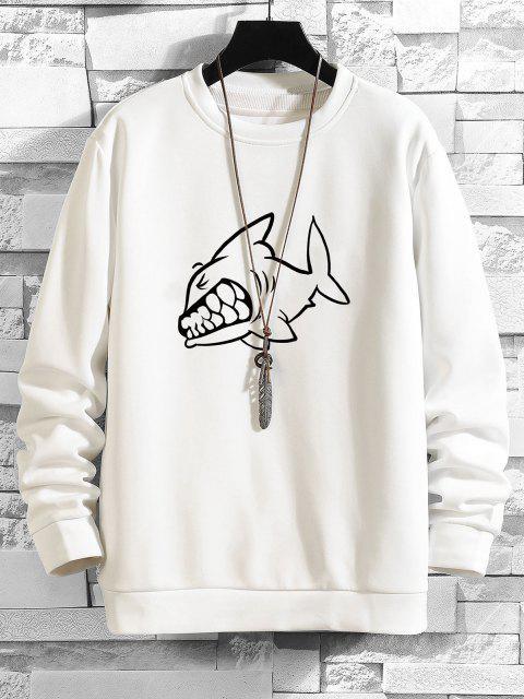 Shark Zeichnung Gedruckt Sweatshirt - Weiß M Mobile