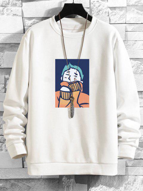 Cartoon Charakter Druck Lässiges Sweatshirt - Weiß XL Mobile