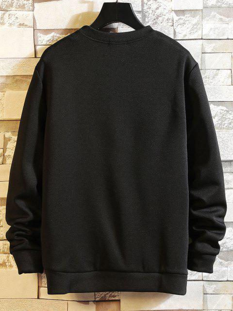 sale Letter Printed Round Neck Sweatshirt - BLACK L Mobile