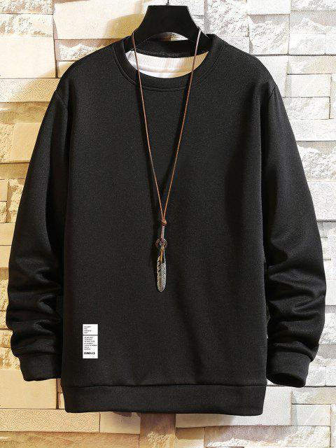 ladies Letter Printed Round Neck Sweatshirt - BLACK S Mobile