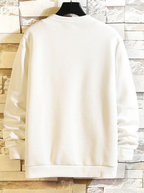 Sweatshirt mit Buchstabendruck und Rundhalsausschnitt - Weiß M Mobile