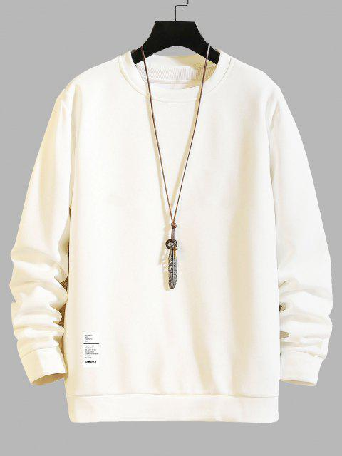 hot Letter Printed Round Neck Sweatshirt - WHITE M Mobile