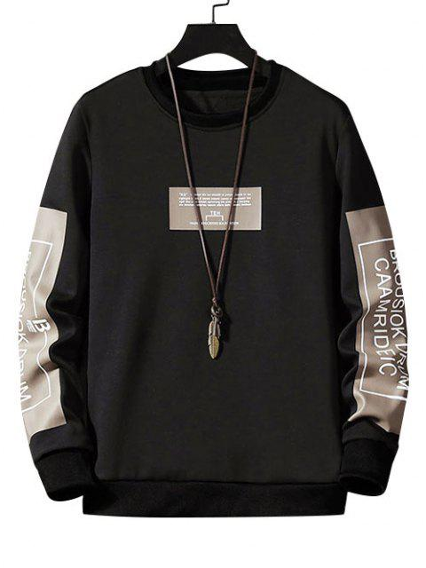 fashion Letter Graphic Print Pullover Casual Sweatshirt - BLACK S Mobile