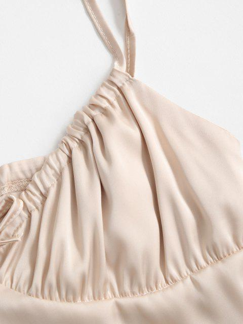 latest Tie Collar Smocked Back Silky Satin Cami Top - CHAMPAGNE GOLD L Mobile