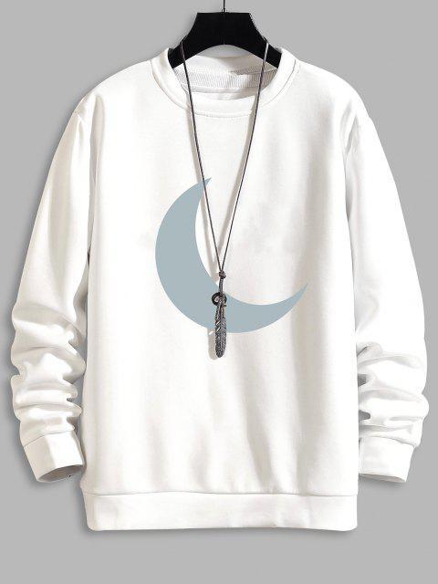 Mond Druck Rundhals Sweatshirt - Weiß S Mobile