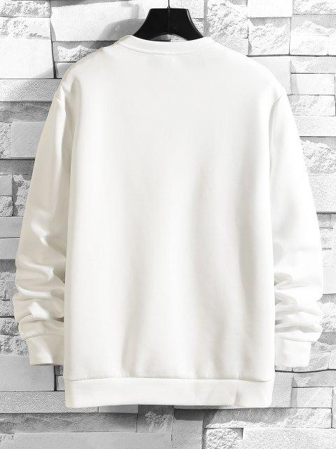 Sweat-shirt Lune Imprimée à Col Rond - Blanc XS Mobile