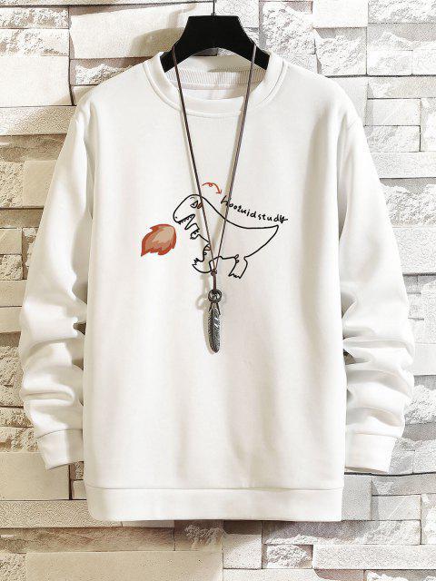 Feuer Dinosaurier Zeichnung Buchstabedruck Sweatshirt - Weiß XS Mobile