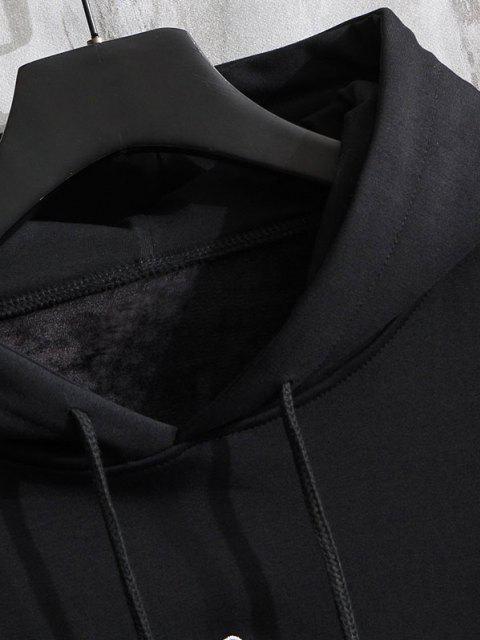 Buchstabe Grafik Druck Stickerei Hängender Schulter Hoodie - Schwarz XL Mobile