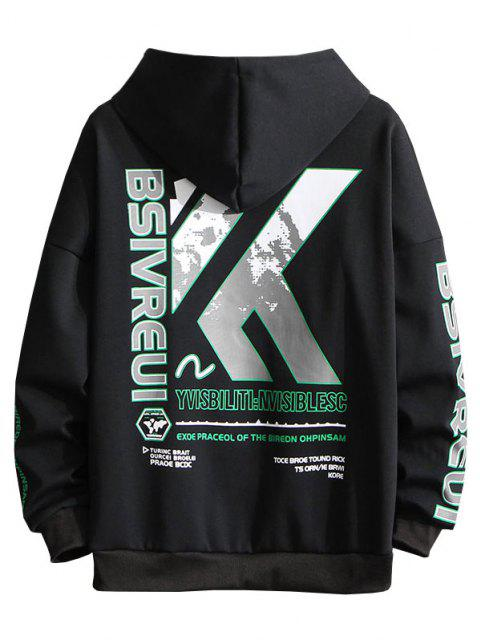 hot Letter Graphic Print Embroidery Drop Shoulder Hoodie - BLACK 2XL Mobile