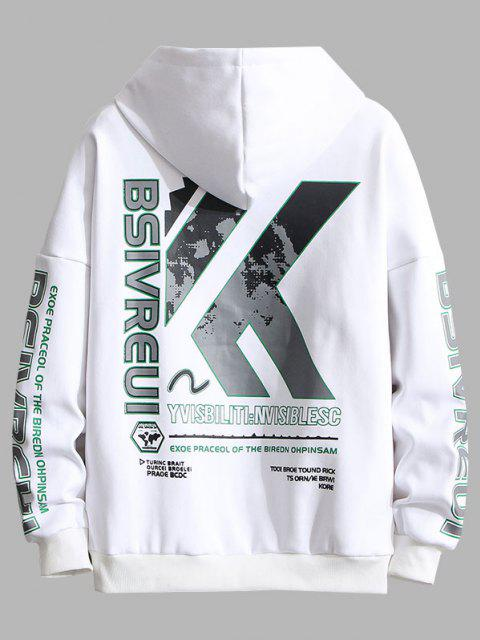 outfit Letter Graphic Print Embroidery Drop Shoulder Hoodie - WHITE XL Mobile