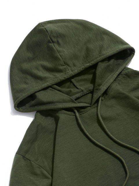 T-Shirt Casuale con Cappuccio e Coulisse a Contrasto - Verde Dell'esercito XL Mobile