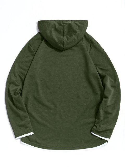 best Contrast Hem Drawstring Casual Hooded T-shirt - ARMY GREEN XL Mobile
