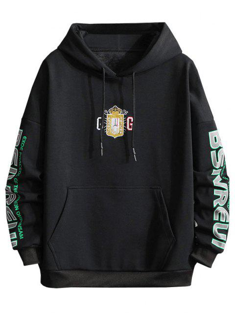 online Letter Graphic Print Embroidery Drop Shoulder Hoodie - BLACK 3XL Mobile