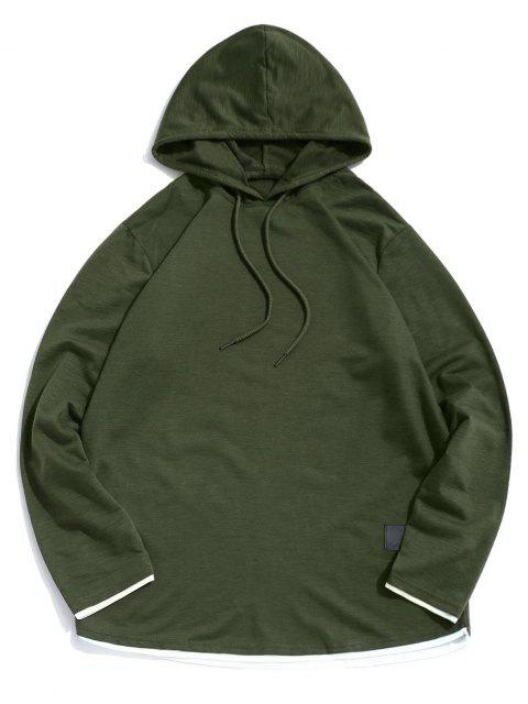 hot Contrast Hem Drawstring Casual Hooded T-shirt - ARMY GREEN L Mobile