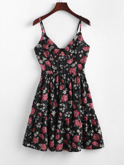 ZAFUL Robe à Bretelle Fleurie Plissée à Volants - Noir M