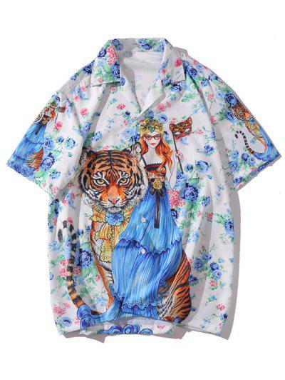 Tiger Character Printed Short Sleeves Shirt - Multi-a L
