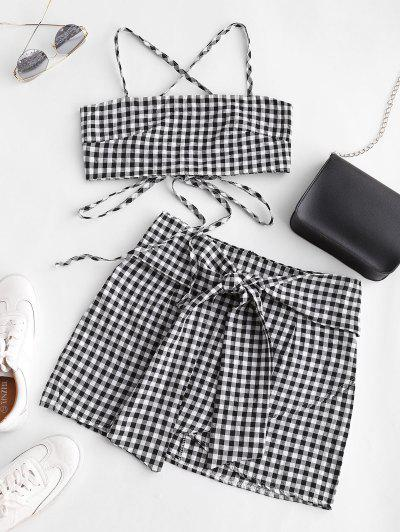 Gingham Knotted Cami Two Piece Suit - Multi-a L