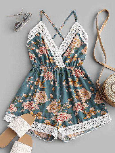 Lace Panel Floral Backless Cami Romper - Multi-c M