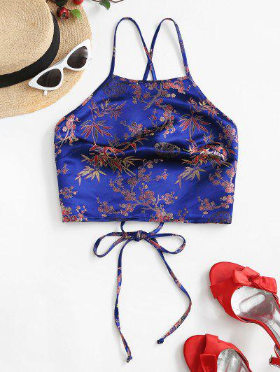 ZAFUL Flower Jacquard Lace Up Crop Cami Top - Blueberry Blue S
