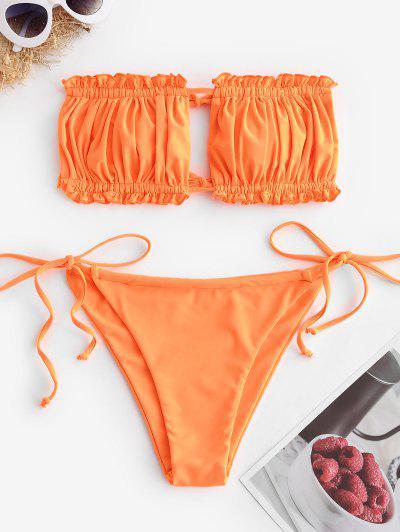 ZAFUL Ruffle Tie Side Low Waisted Bandeau Bikini Swimsuit - Orange S