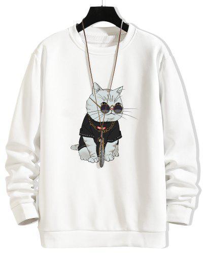 Cartoon Katze Mit Brille Druck Rundhals Sweatshirt - Weiß M