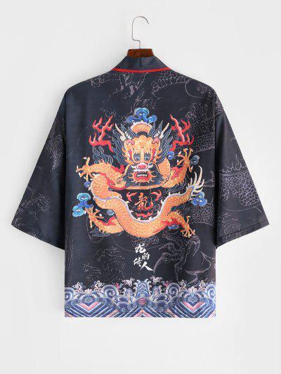 Dragon Huge Sea Waves Print Open Front Kimono Cardigan - Dark Slate Grey L