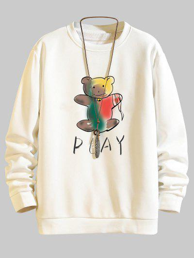 Play Bear Print Casual Sweatshirt - White S