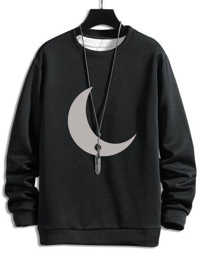 Moon Print Round Neck Sweatshirt - Black L
