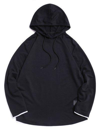 Contrast Hem Drawstring Casual Hooded T-shirt - Black L
