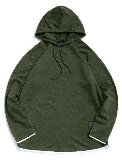 Contrast Hem Drawstring Casual Hooded T-shirt - Army Green Xl