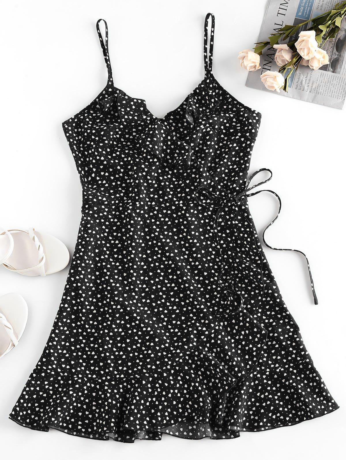ZAFUL Heart Ruffle Cami Mini Dress