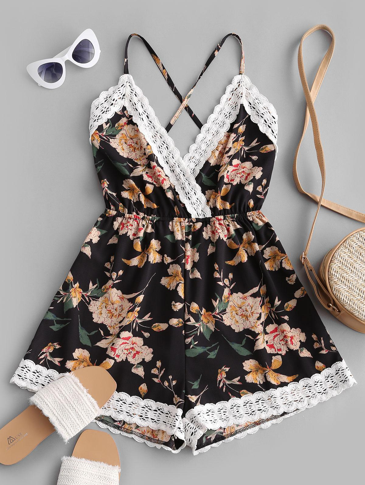 Lace Panel Floral Backless Cami Romper