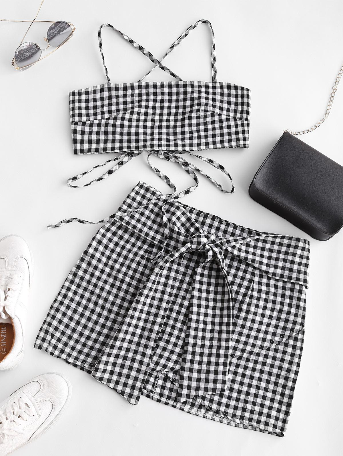 Gingham Knotted Cami Two Piece Suit