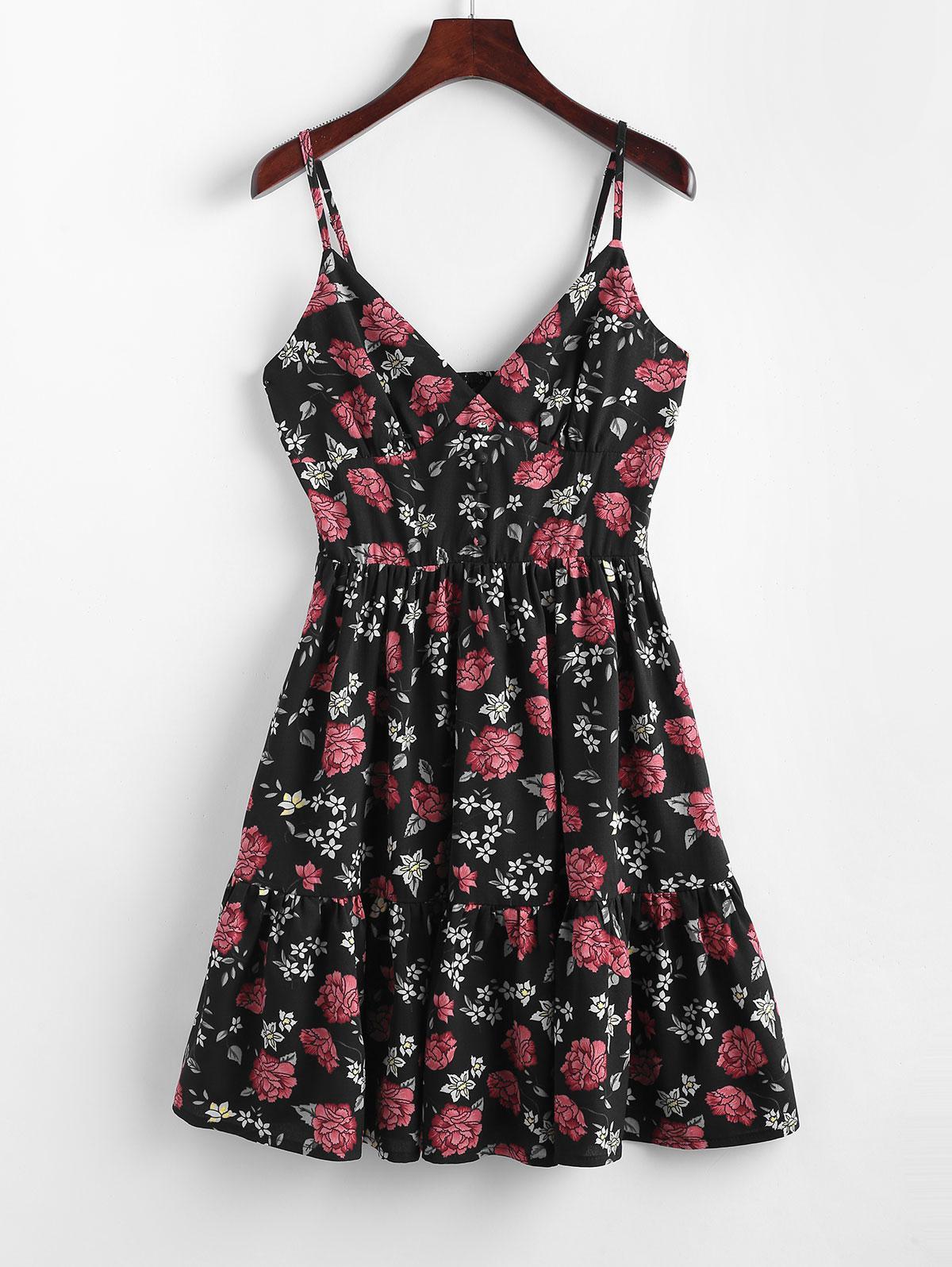 ZAFUL Floral Smocked Flounce Cami Dress