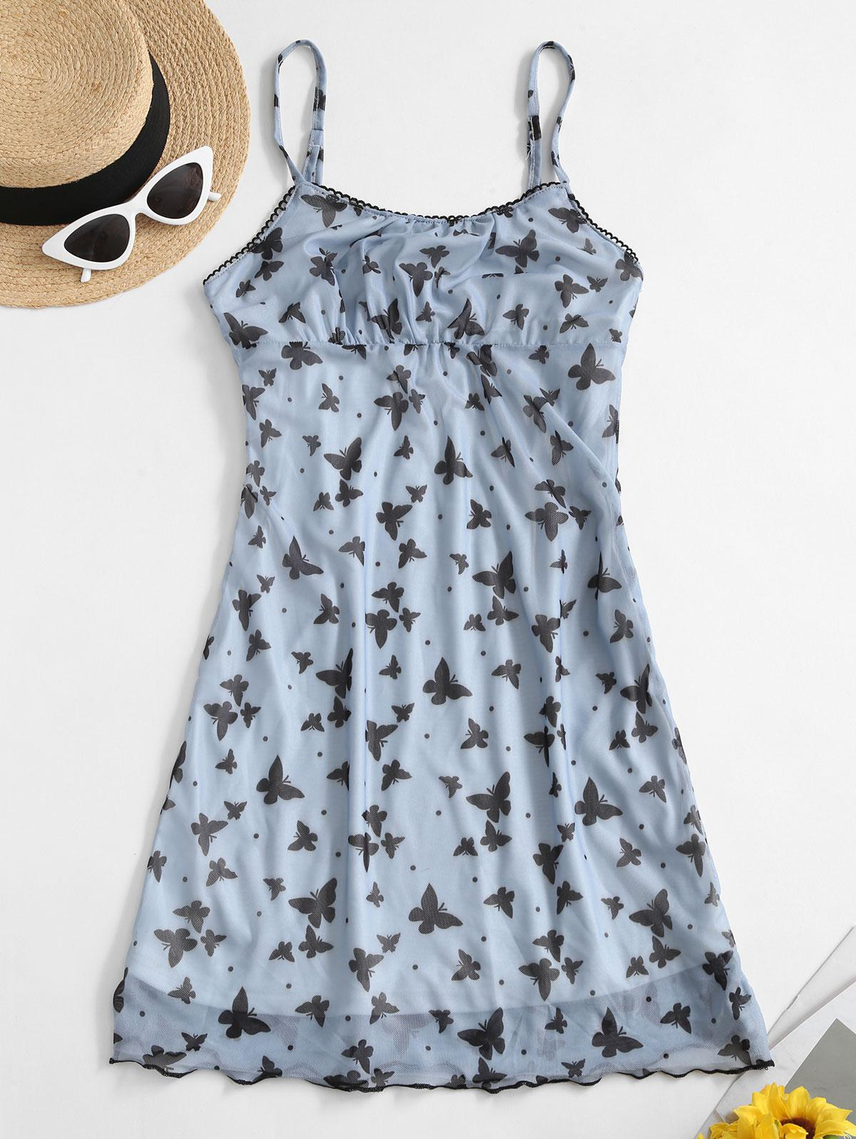 Ruched Front Butterfly Print Cami Dress