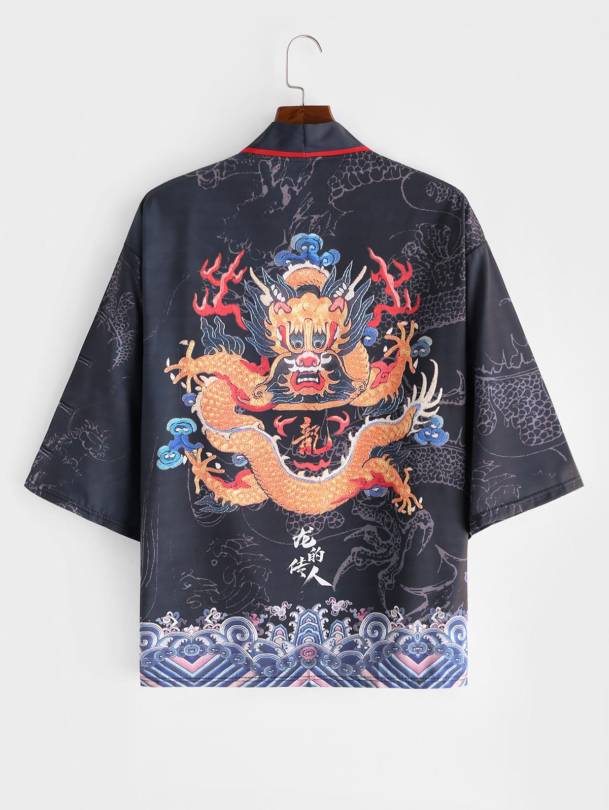 Dragon Huge Sea Waves Print Open Front Kimono Cardigan фото