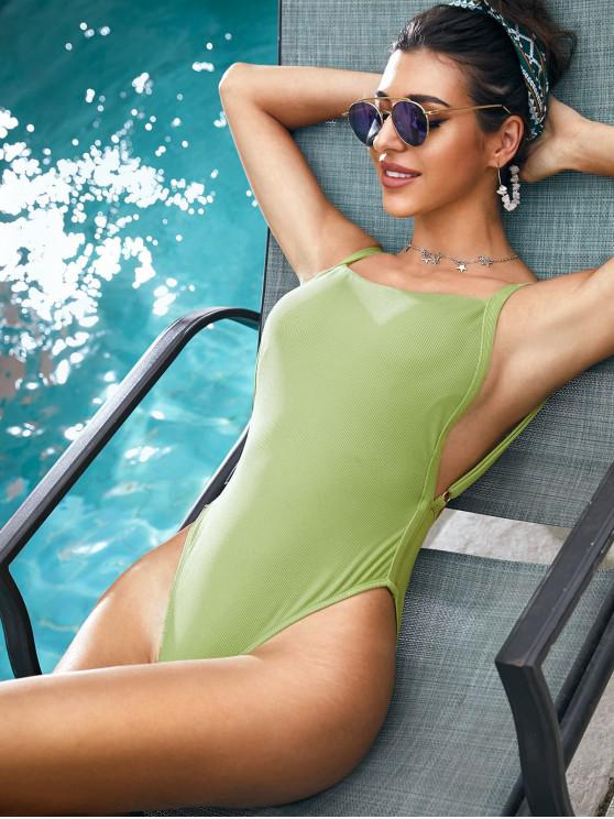 affordable ZAFUL Ribbed Drop Armhole High Cut One-piece Swimsuit - LIGHT GREEN XL